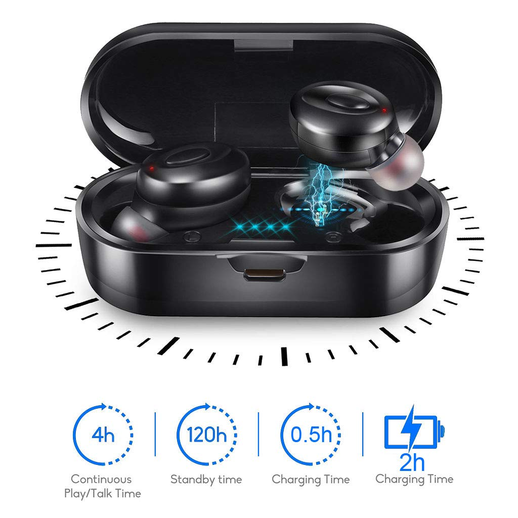 MIMEI Bluetooth 5.0 Wireless Earbuds with Wireless Charging Case TWS Stereo Headphones in-Ear Built-in Mic Binaural Calls Headset Premium Sound with Deep Bass for Sport 10.5 X 12.5 X 4 cm, Black