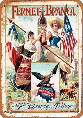 Wall-Color 7 x 10 METAL SIGN - 1889 Fernet-Branca Liqueur - Vintage Look Reproduction Fernet Branca Liqueur