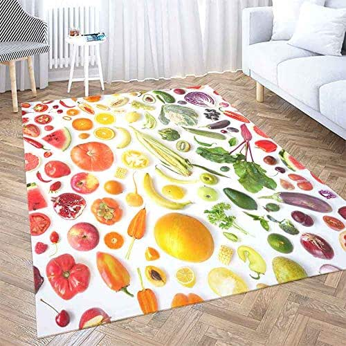 Area Rugs 5X7,Shorping Large Area Rug Modern Area Rug Vintage Area Rug Food Texture Pattern Various Fresh Vegetables Fruits Isolated White Fun Area Rug Rugs for Bedroom Cute Area Rug