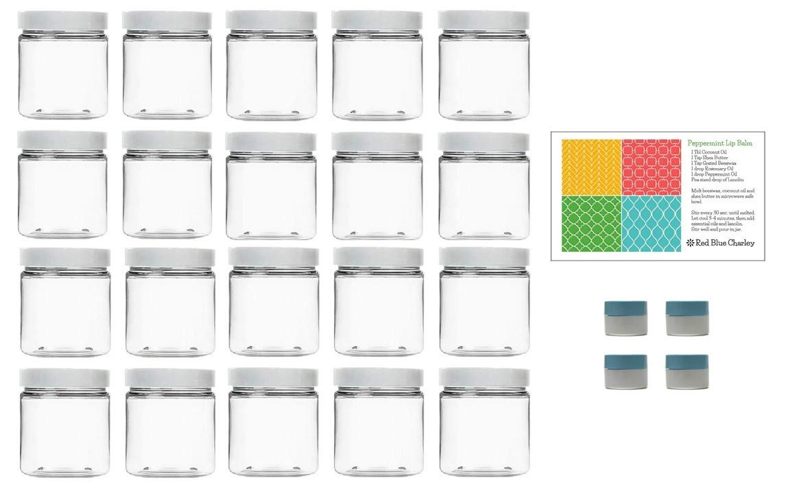 Clear 8 oz Plastic Jars with White Lids 20 pk with Mini Jar – PET Round Refillable Containers
