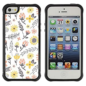All-Round Hybrid Rubber Case Hard Cover Protective Accessory Compatible with Apple iPhone 5 & 5S - flowers yellow happy white peach