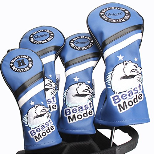Guiote Brand Beast Mode golf headcover white and Blue vintage style PU Leather golf head cover fits 460cc drivers