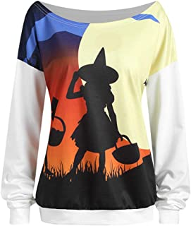 Kingwo Sweat-Shirt Imprimé Femme Diable Halloween T-Shirt à Manches Longues à Imprimé