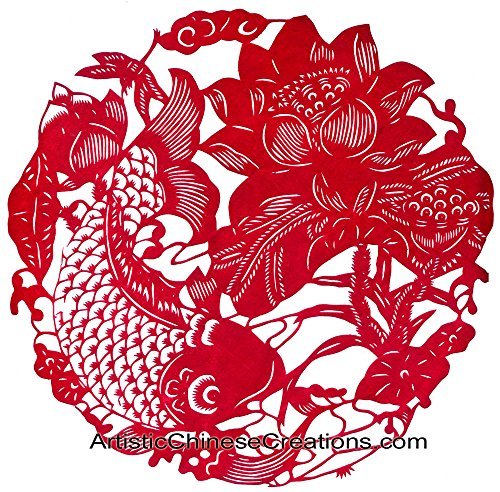 Chinese New Year Gifts /Chinese Paper Cuts - Fish & Lotus / Wealth & Prosperity - 100% Hand Crafted Chinese Paper Cuts