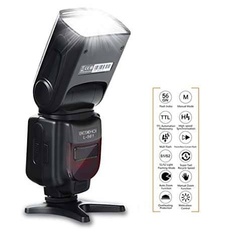 Beschoi E-TTL Flash Speedlite L561 con Pantalla LCD, Esclavo ...