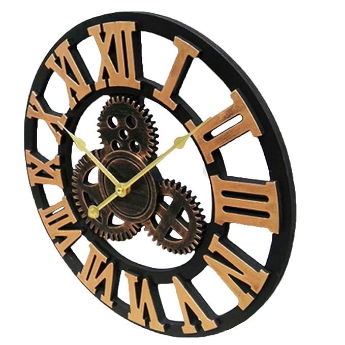 ufengke Rustique Vintage Doré Fer Horloge Murale avec Chiffres Romains - Style  Industriel Silencieux Engrenage Décorations Murales Décor - 40cm de  Diamètre  ... 9fdf8b969d4c