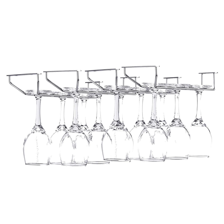 FOMANSH Wine Glass Rack - Under Cabinet Stemware Rack Glasses Storage Holder Metal Organizer for Bar Kitchen (4 Rows) by FOMANSH