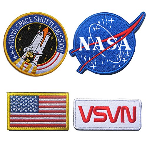 Classic Tactical NASA Patches Lot with American Flag Iron On Patches for Team Morale (4 Pcs) by Monte Everest