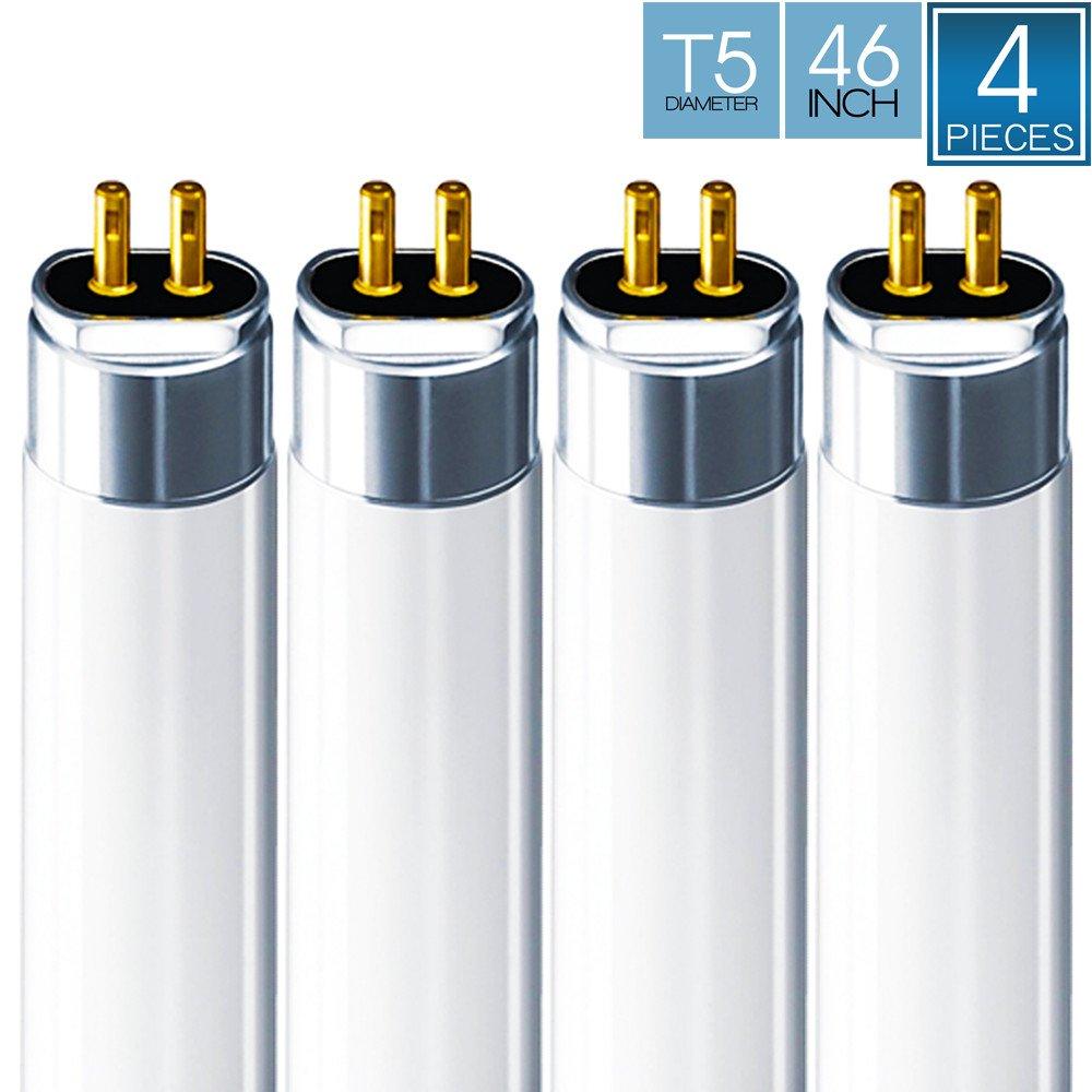 Luxrite F28T5/841 28W 46 Inch T5 Fluorescent Tube Light Bulb, 4100K Cool White, 2470 Lumens, G5 Mini Bi-Pin Base, LR20800, 4-Pack