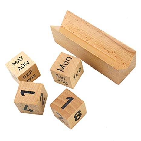 Amazon Com Jeteho Wooden Perpetual Desk Calendar Blocks For Office