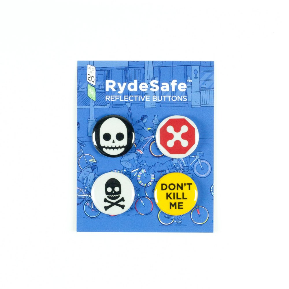 RydeSafe Reflective Buttons - Gnarly - 4 Pack