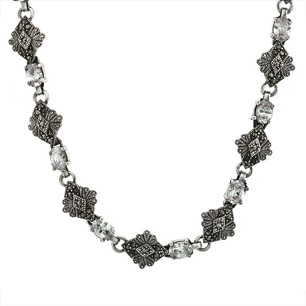 Sterling Silver Cubic Zirconia Lavender Marcasite Necklace, 16 inch long