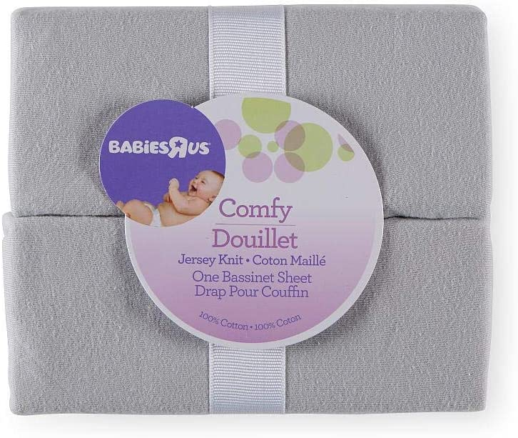 Babies R Us Grey Knit Bassinet Sheets - 2 Pack