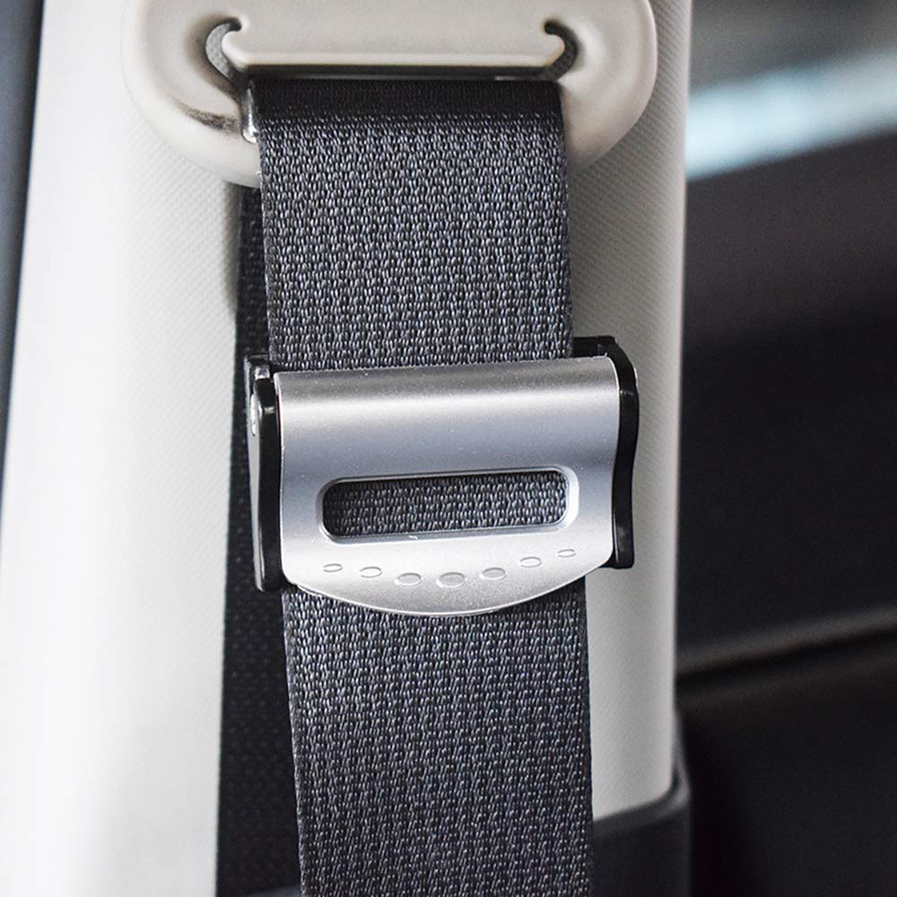Sliver 2 Pcs Car Seat Belt Adjuster Seat Belt Tension Clips Locking Buckles for Car Driving or Riding