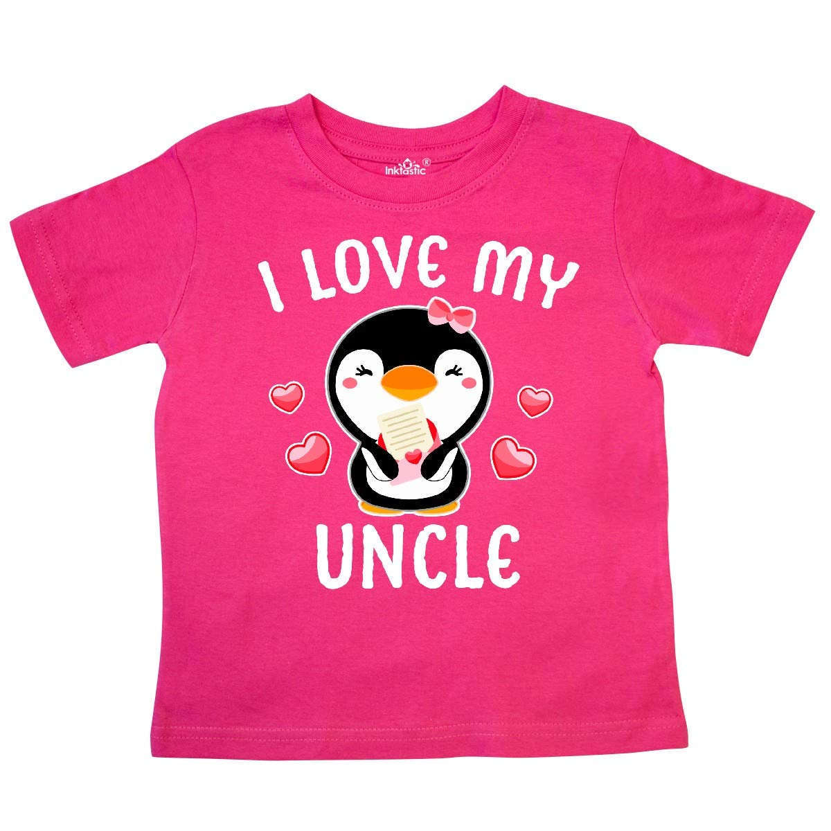 inktastic I Love My Uncle with Cute Penguin and Hearts Toddler T-Shirt
