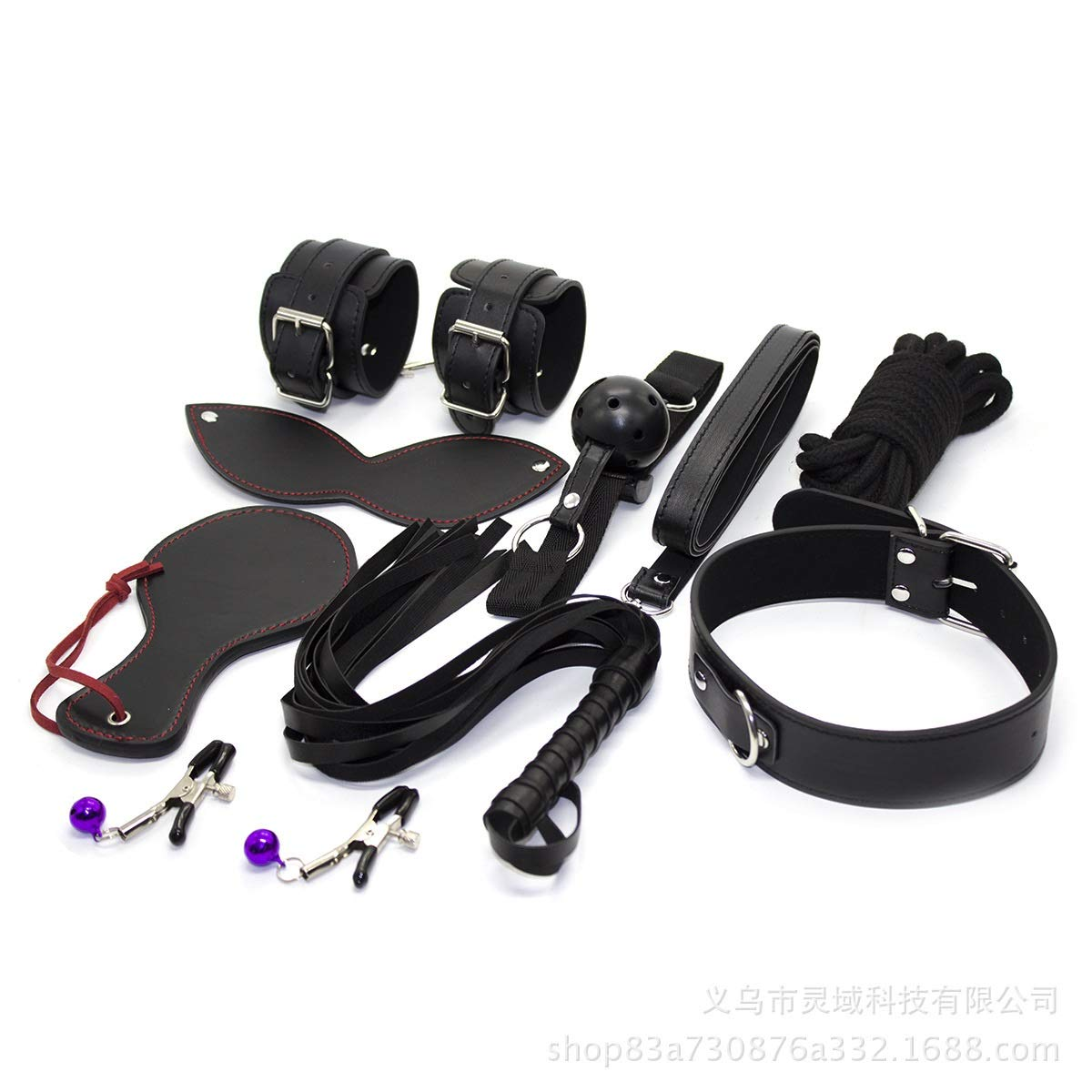 MDYHJDHYQ Erotic Leather Whip Nipple Rope Hand Beat Game Eight-Piece Suit Black Eye Mask Hand Buckle Foot Buckle Sex Toys (Color : Black) by MDYHJDHYQ