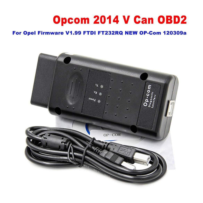 Negro ngzhongtu Opcom 2014 V Puede OBD2 para Opel Firmware V1.99 FTDI FT232RQ Nuevo OP-Com 120309a con Chip PIC18F458 para Vectra-C