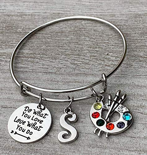 Love What You Do Painters Jewelry Gift Personalized Artist Paint Palette and Brush Charm Pendant Bracelet Do What You Love