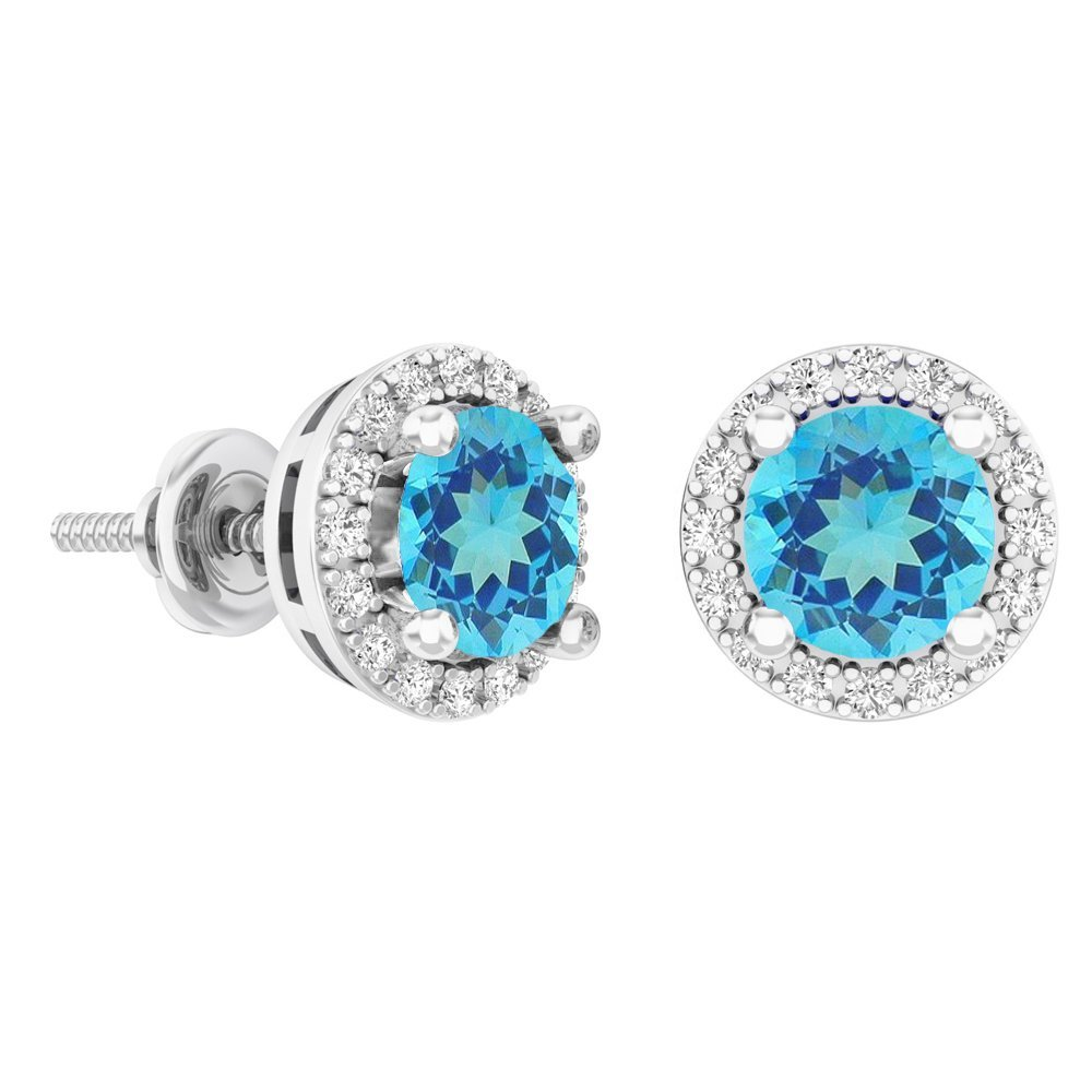 14K White Gold Round Blue Topaz & White Diamond Ladies Halo Style Stud Earrings