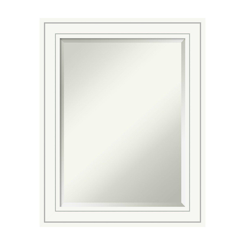Craftsman White Glass Size  24 x 18 Wall Mirror Large, whiteo White Wood  Outer Size 32 x 26