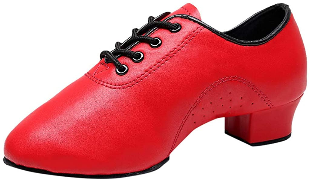 Henwerd Womens Leather Lace-up Jazz Shoes Breathable Practice Latin Salsa Tango Ballroom Modern Dance Shoes Gift