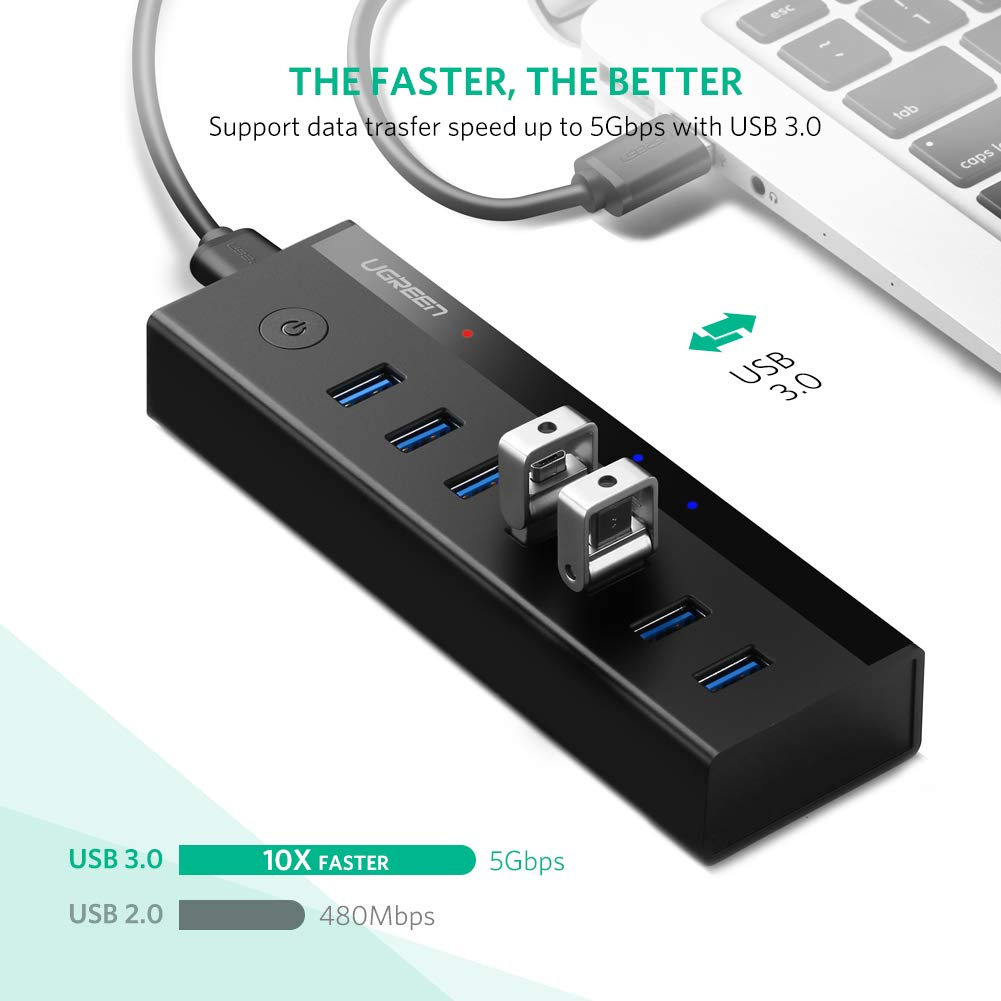 UGREEN USB 3.0 Hub 7 USB Ports Dockingstation USB HUB mit Netzteil USB Verteiler SuperSpeed bis zu 5Gbp Datenhub Schwarz