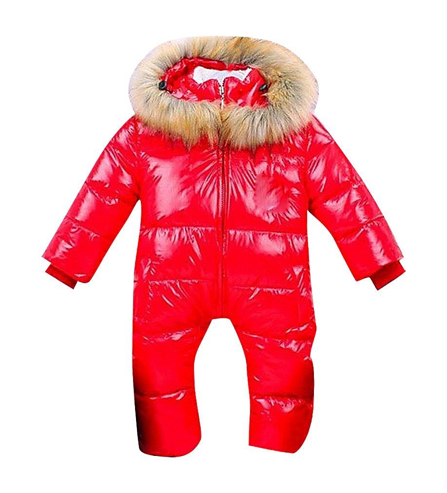 Sweety, Baby Boy Hooded Outerwear Lightweight Soft Warm Down Bunting Faux Fur,ShinyRed 4T
