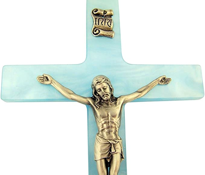 17,8/cm Rose 5 1//4 inch /Étain Religious Gifts Croix Latine Nacr/é Cruxifix avec Christ en /étain Corpus