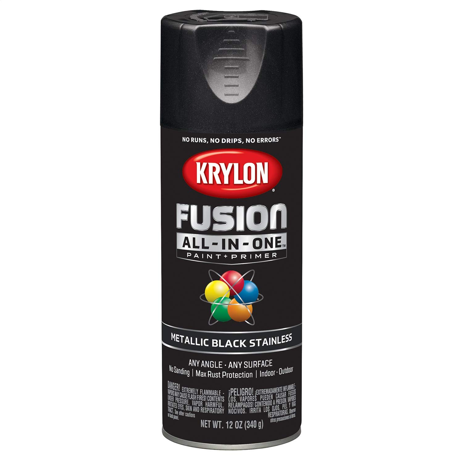 Krylon K02790007 Fusion All-in-One Spray Paint, Black Stainless