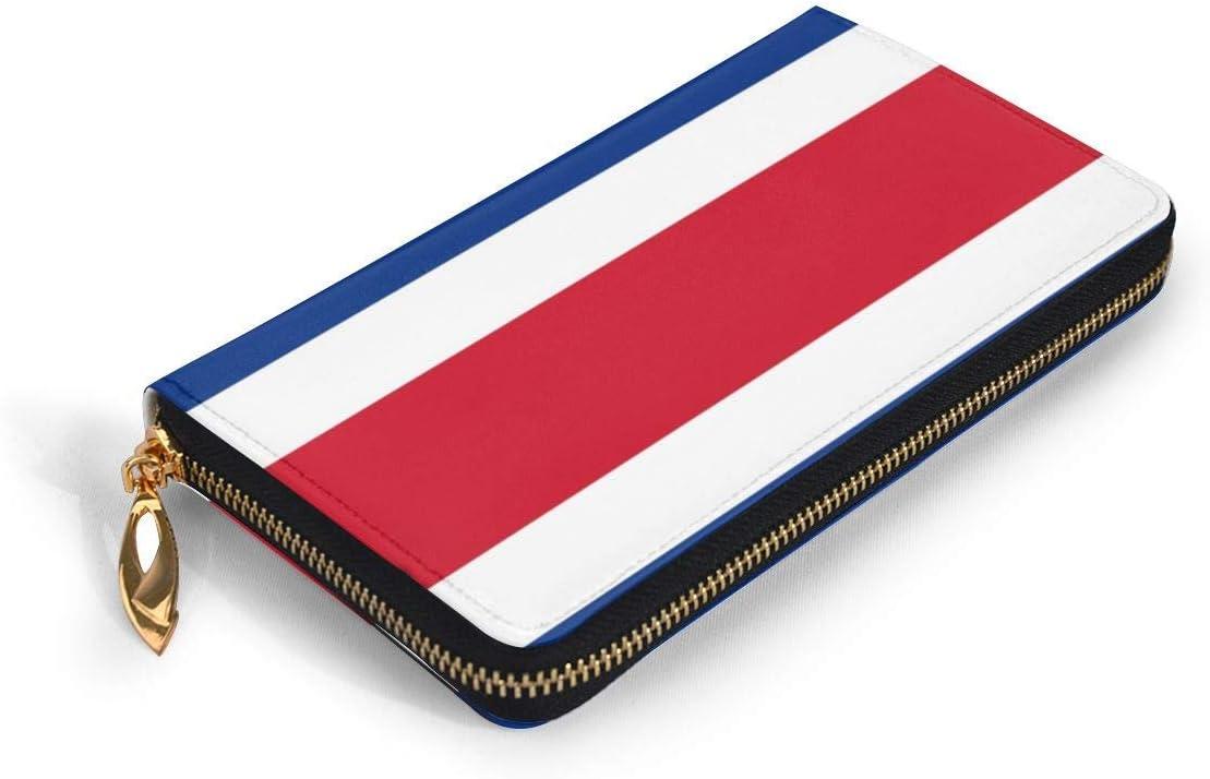 JHGFG Bandera de Costa Rica Bloqueo de RFID para Mujer Cartera con Cremallera Cartera de Cuero Genuino Portatarjetas Largo Organizador Carteras Monedero Grande de Viaje