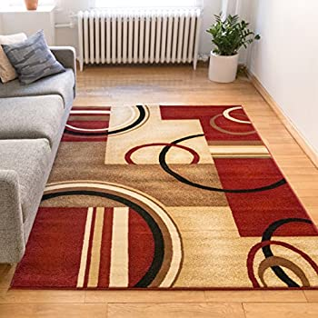 Amazoncom Sweet Home Stores Modern Circles Design Area Rug Red