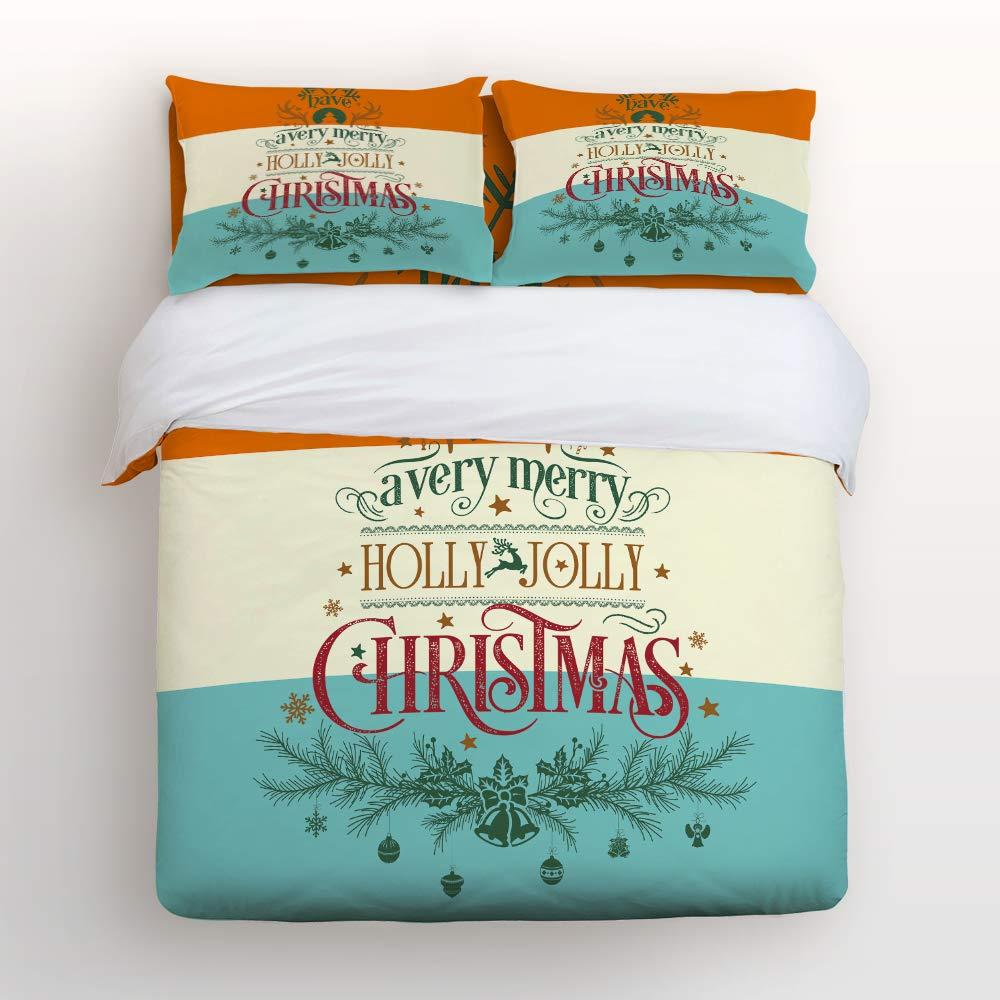 Bilagawa 掛け布団カバー4点セット 美しい花 植物 メリークリスマス ハッピーニューイヤーベッドシーツセット 掛け布団カバー フラットシーツ クリスマス用枕カバー付き クイーン 181114WHLWHLSJTBIABSCRY01746SJTCBIA B07KG86KC1 Christmas-063bia2274 クイーン