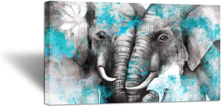 Zlove Large Animal Canvas Wall Art Elephant Couple in Love Boho Decor Mandala Elephant Grey and Teal Artwork for Bedroom Modern Home Decor Stretched and Framed Ready to Hang 20x36inch