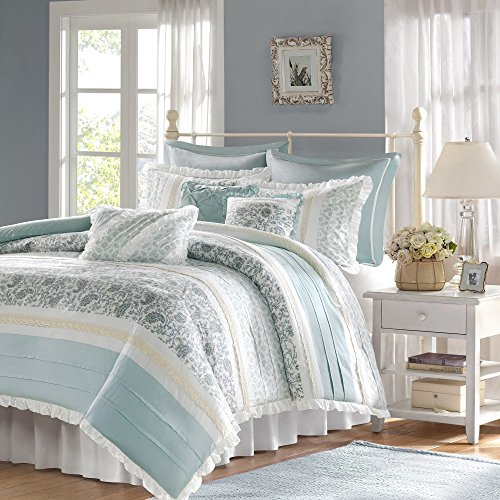 9 Piece Periwinkle Blue Green Paisley Duvet Cover Queen Set, Blue White Shabby Chic Adult Bedding Master Bedroom Stylish Pintuck Ruffled Pattern Ruched Elegant Themed Traditional, Cotton by D&H