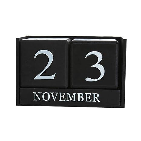 Amazon.com: Calendario de escritorio permanente de madera ...