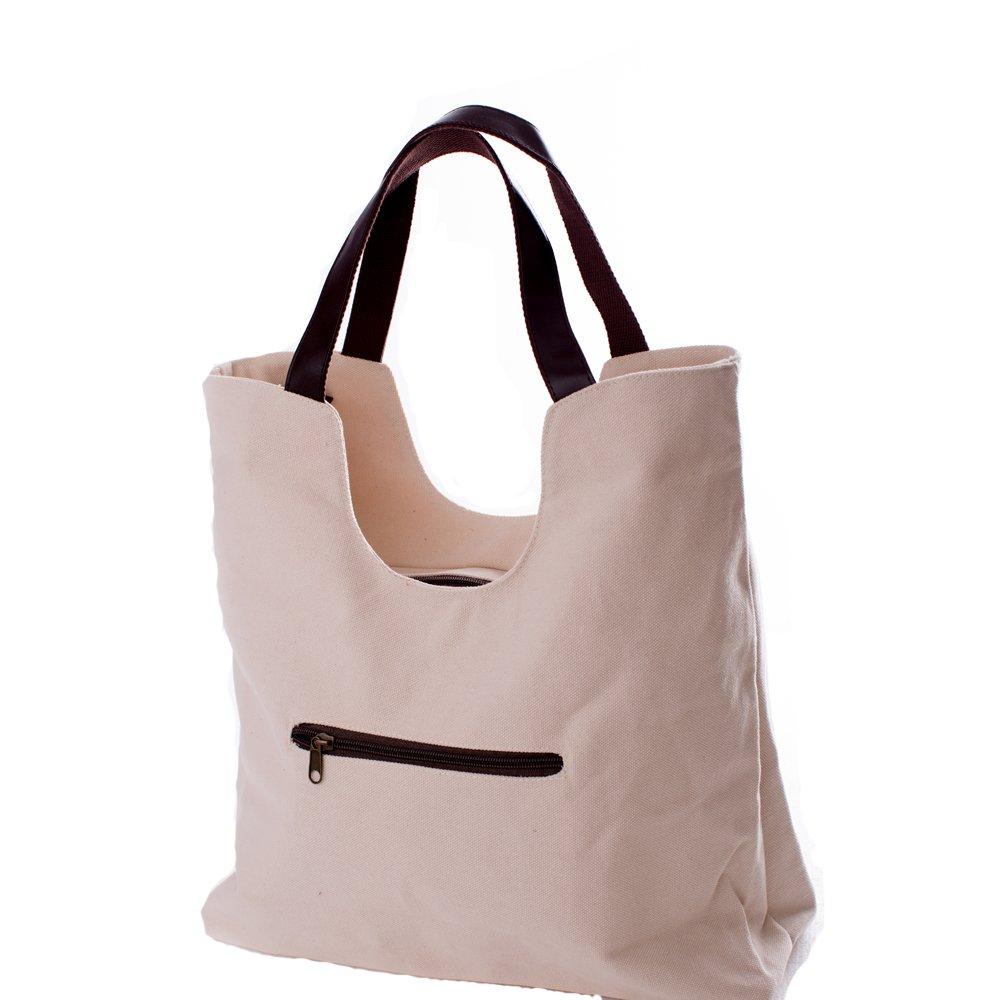93bd956c57 SUNROLAN Womens Canvas Top Handle Designer Handbags Tote Shoulder Bags  Purses 1008 Beige  Handbags  Amazon.com