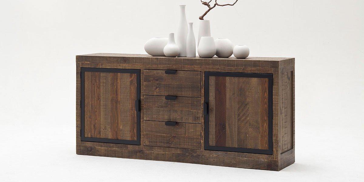 sideboard xl finca vintage shabby esszimmer kommode vitrine kiefer massivholz mobel amazon de kuche haushalt