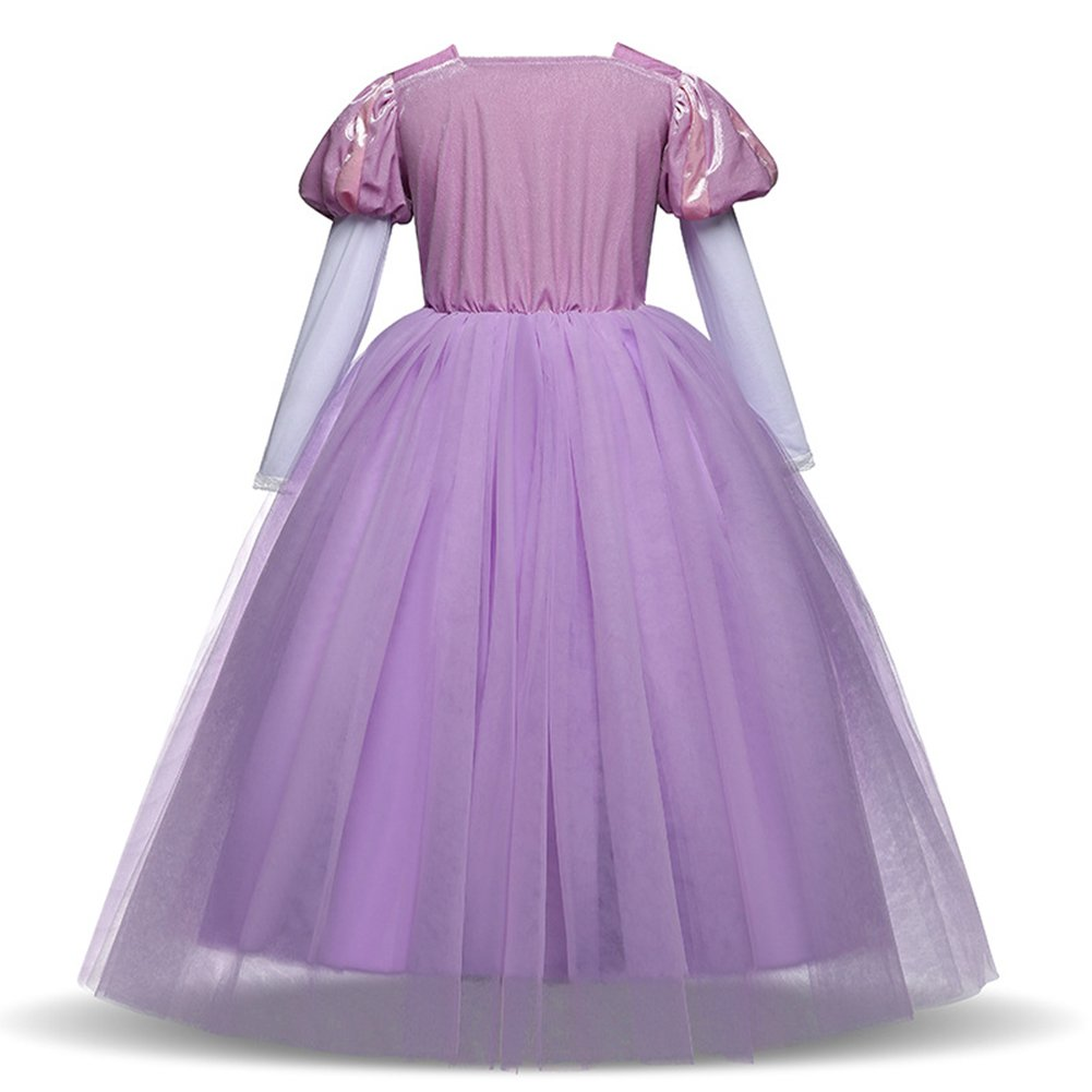OUYAWEI para - Princesa de Vestido Largo de Encaje para Niña con ...