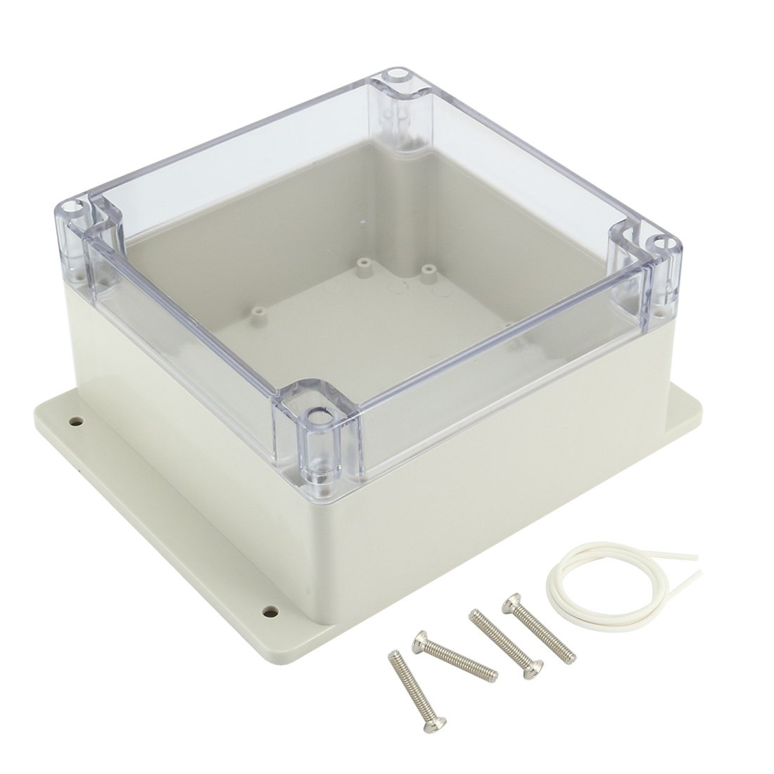 uxcell 6.3''x6.3''x3.54''(160mmx160mmx90mm) ABS Junction Box Universal Project Enclosure w PC Transparent Cover