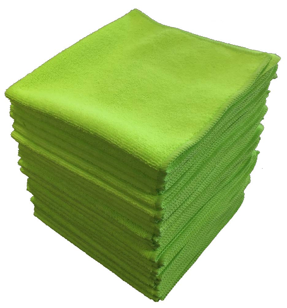 Shine Doctor Microfiber Towels 16'' x 16'' Green(Qty. 24) - Ultra Absorbent, Scratch & Lint Free(300 GSM)
