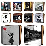 BANKSY Print Coasters Pack of 10 – NEW Art Coasters Furniture, Dinnerware Sets 11cm x 11cm Picture