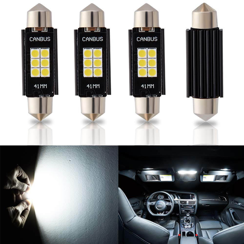 ANTLINE Newest 211-2 212-2 569 578 LED Bulb White (4 Pack), Super Bright 1.72' 41MM 42MM 3030 6-SMD Canbus Error Free LED for Replacement, Work as Interior Dome Map Door Courtesy Trunk Lights