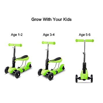 begorey 3 en 1 Niños Scooter con ruedas LED y extraíble ...