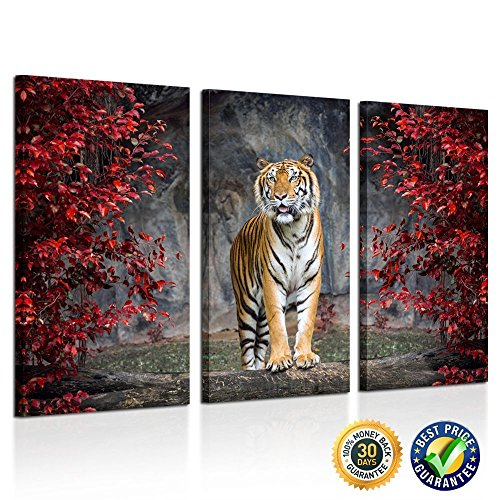 Kreative Arts - Large Size 3 Piece Canvas Wall Art Painting Tiger Pictures Prints On Canvas Animal The Picture Artwork For Home Modern Decoration Print Ready to Hang Tiger Wall Art Painting