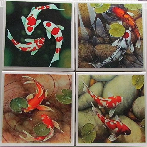 Ceramic Tile Coasters - Koi - Set of 4 - Custom Made To Order - Check out more designs by typing in - Made Perfect Coaster Company - We Carry Personalized Stone & Monogram Coasters ()