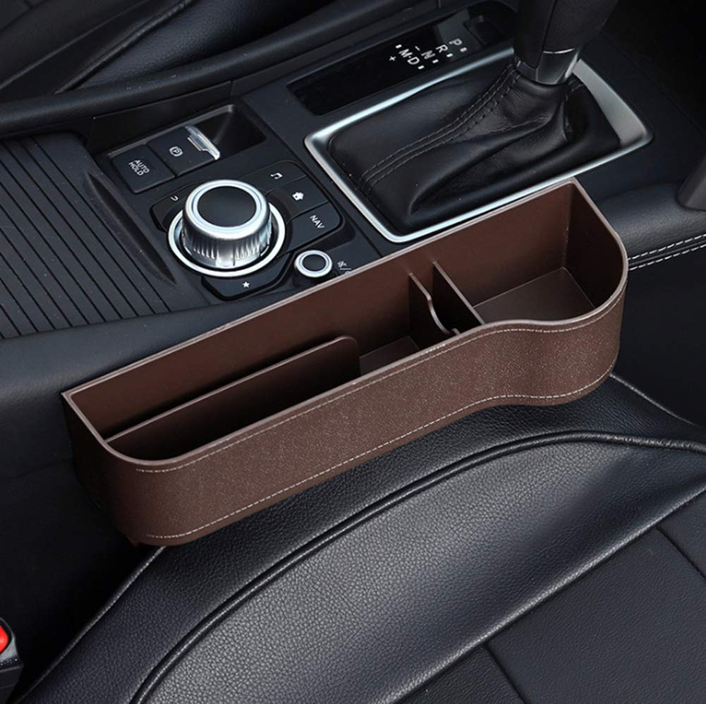 XYLUCKY 2Er Pack Autositz Gap Filler Konsole Seitentasche Mit M/ünzsammler Autositz Catcher Car Organizer PU-Leder