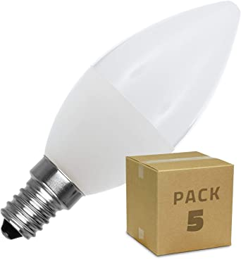 LEDKIA LIGHTING Pack Bombillas LED E14 Casquillo Fino C37 5W (5 un) Blanco Cálido 2800K - 3200K: Amazon.es: Iluminación