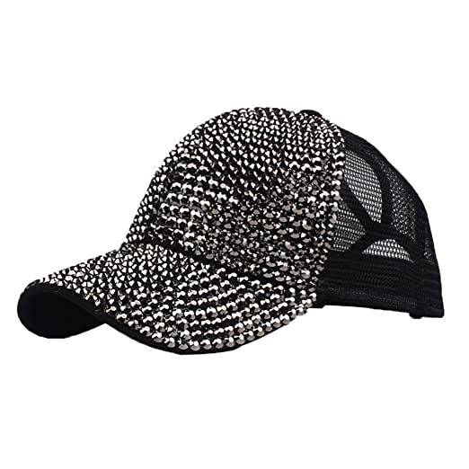 9fbd0f30933 Vertily Hat Retro Rhinestone Mesh Plain Adjstable Baseball Bling Hip-Hop  Diamond (Black)