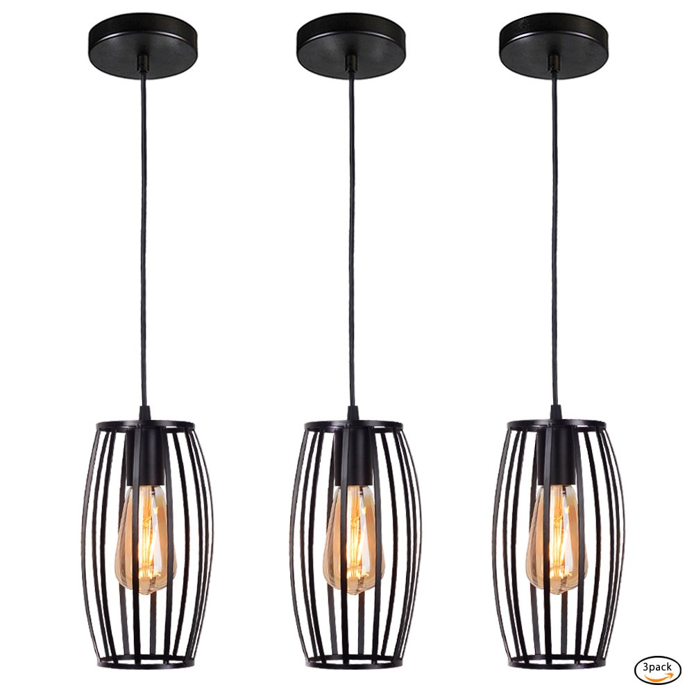 Industrial Vintage Ceiling Pendant Lights, Retro Metal Black Hanging Edison Mini Cage Pendant Light Fixture For Kitchen Island Bedroom Hallway Dining Room Table Farmhouse Chandelier 3 Lighting
