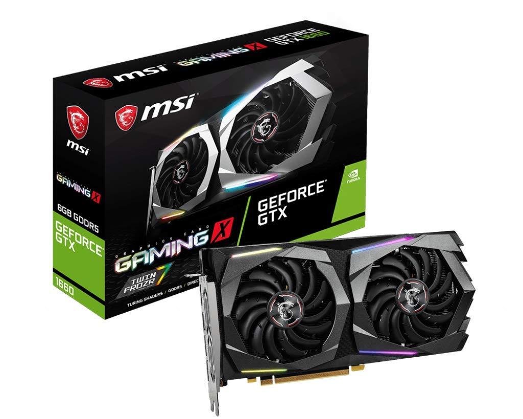 MSI Nvidia GeForce GTX 1660 Gaming X 6G Graphics Card 6 GB GDDR5, 1860 Hz, RGB Mystic Light, 3x DisplayPort, HDMI, Dual Fan Cooling System